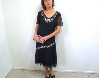 Vintage 20s dress, 1920s k Flapper Dress Black Chiffon Beaded Embroidered 18W