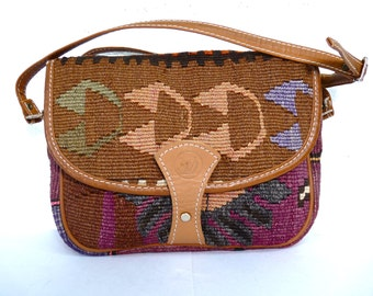 Kilim Woven Carpet bag, Leather Trim, Vintage 80s Navajo, Crossbody Shoulder Bag