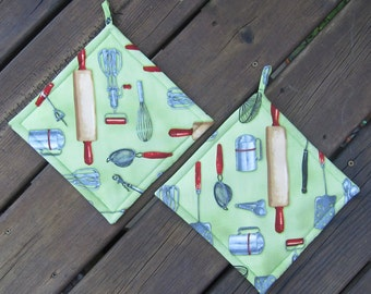 Kiss the Cook set of two vintage kitchen utensils pot holders