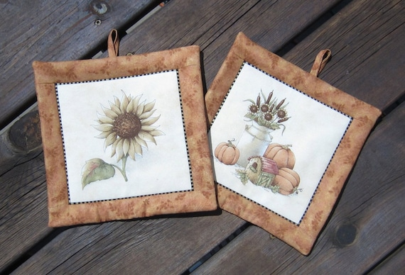 Fall Autumn Harvest Sunflower and Cream Can with Pumpkins Set of Two Pot Holders