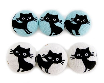 Cat Buttons Sewing Buttons / Fabric Buttons - Black Cats - Cat Buttons