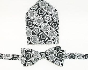 Bow-Tie and Pocket Square Set  - Spirographs, circles, handmade, self tie