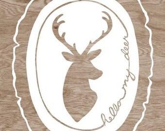Faux Bois Print - Hello My Deer  - Deer Silhouette -  Brown and White Woodgrain Wood Slice Art Print  - 8 x 10 Woodland Wall Art