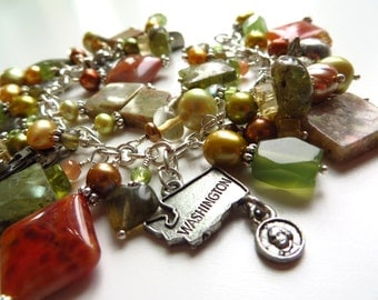 Washington charm bracelet - The Evergreen State gemstone and pearls silver jewelry