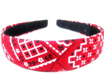 Red Bandana Headband One Inch