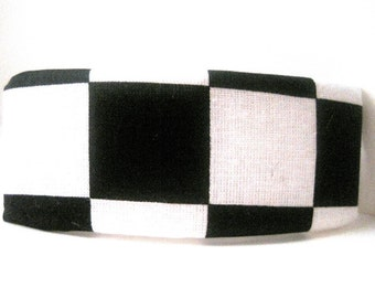 Black White Checkered Barrette