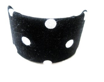 Black White Polka Dot Ponytail Barrette