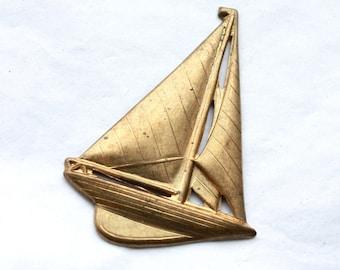 4 Large Vintage 1960's Brass Sailboat Stampings // Summer Sailing
