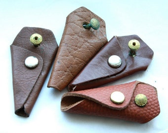 2 Assorted Vintage 1950's Leather Key Holders // New old stock