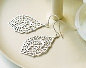 Matte Silver Paisley Filigree Earrings Your Choice Titanium And Silver Ear Wires Modern Bohemian Feminine Everyday Earrings