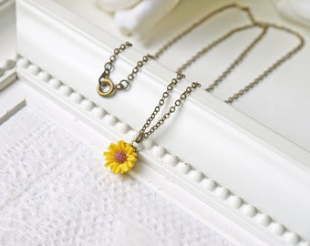 Sunflower Necklace Simple Everyday Antique Brass Necklace Dainty Adorable Petite