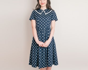 On Hold - 1980s Navy Blue Polka Dot Dress - Vintage 80s Cotton Dress - S / M