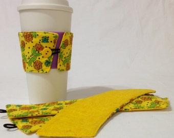 SALE!*!*!*! - Yellow Flower Coffee Cozie - *!*!*! 2 for 1 Mix and Match