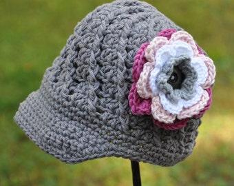 Baby Hat with Flower, Newsboy Visor Hat