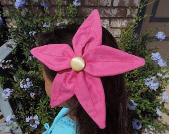 Little Mermaid flower hair clip handmade Magenta Pink Petals with Yelow button center