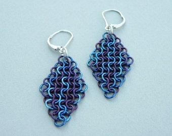 Chain maille earrings midnight blue purple anodized niobium European 4-in-1 mesh