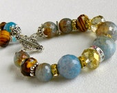 Aqua Fire Agate Handmade Beaded Bracelet Faceted Tiger Crystals