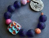 Purple Retro Bracelet - Chunky Vintage Bracelet - Polymer Clay Bracelet - Bead Soup Jewelry