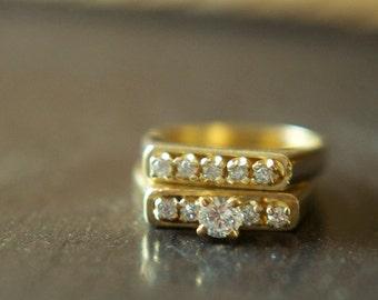 vintage 14k gold wedding ring set