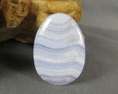 Blue Lace Agate Natural Rock Cabochon Hand Cut and Polished—Jewelry Supplies Jewelry Making—Make Your Own Blue Lace Agate Necklace or Ring
