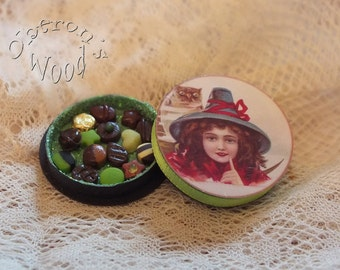 Box of Miniature Chocolates with Vintage Witch