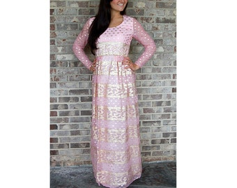 1960s formal dress, Emma Domb dress, pink gold dress, empire waist, shiny gold, Size M, ethnic style