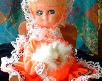 1960's Vintage BRADLEY Doll with FUR Dog Music Box with Hidden Jewelry Box Chair - Plays The Sting