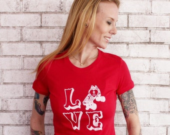 Size Medium, READY TO SHIP, Roller Derby Tshirt, Love T Shirt, Ladies Cotton Graphic Tee, Screenprinted, Valentines Day, Red, Roller Skate
