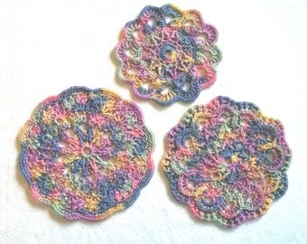 Pastel Rainbow Mini Doilies set of 3