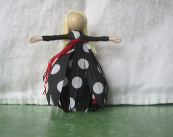 Valentine doll, Polka Dot Witch doll, Flower Fairy,  Halloween Doll, black and red