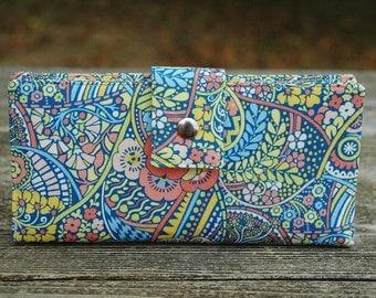 Wallet clutch for women handmade liberty of london pastels