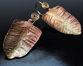 GOLDEN FERN Earrings- Textures & Patinas by Hand on Brass Sheet. Frosty Gold and Autumn Red Colors. Artisan Jewelry. Nature.