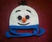 Crocheted Baby Frozen Olaf Snowman Hat  newborn to 3 year sizes