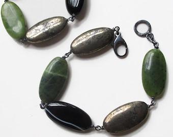 Pyrite, Jade, Black Banded Agate Bracelet Sterling