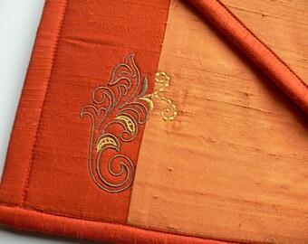 Silk Embroidered ipad case - Orange