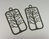 1393-JB (4 pcs) 38mm x 20mm jet black coated laser cut tree in rectangle frame pendants