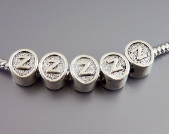 4 Initial Z, antiqued shiny silver initial charm beads beads for European style bracelets, neckalces, craft supplies EB024-Z (4 pieces)
