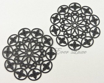 2 large Black delicate laser cut floral filigree brass pendants,  necklace pendants / jewelry making supplies 1469-JB (black, 2 pieces)