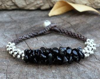 Black Stone Silver Bracelet
