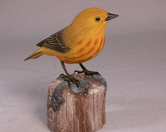 Yellow Warbler Wooden Hand carved Bird