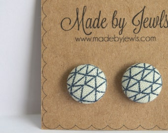 Fabric Button Earrings - Diamonds are a Girl's Best Friend - Buy 3, get the 4th FREE