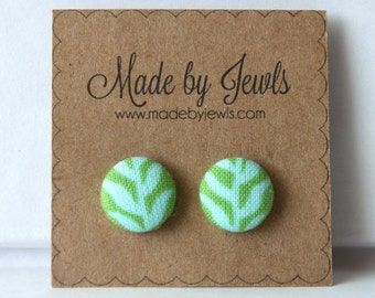 Under the Sea Fabric Covered Button Earrings