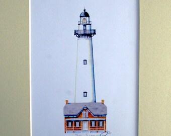 "Saint Simons Island Lighthouse Art Signed Robert Kline 11"" x 14"" Matted Print Georgia Nautical Gift Beach House Home Boat Office Wall Decor"