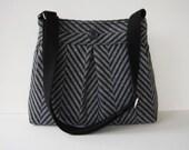 Medium Black Gray Herringbone Pleated Fabric Messenger Bag - Medium Herringbone Crossbody Purse - Black Bag