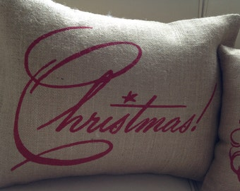 Red Christmas burlap pillow cover