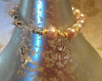 PeaRl BraCelet, LeAther BraCelet, SterLinG SilVer BracElet, Flower Bracelet, MB03