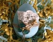Vintage inspired shabby soft blue decorated egg