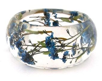 Size Large Forget Me Nots Resin Bracelet -  Handmade Resin Jewelry -  Pressed Flower Bracelet for the Gardener or Nature Lover. Engraved