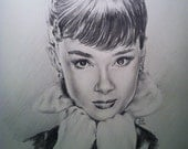 Audrey Hepburn Portrait Drawing Sketch by JEREMY WORST Charcoal Pencil Acrylic Original art artwork