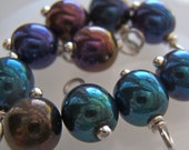 10 - Hand wrapped in Silver Finished Brass  6mm Blue Iris Dangles-Charms